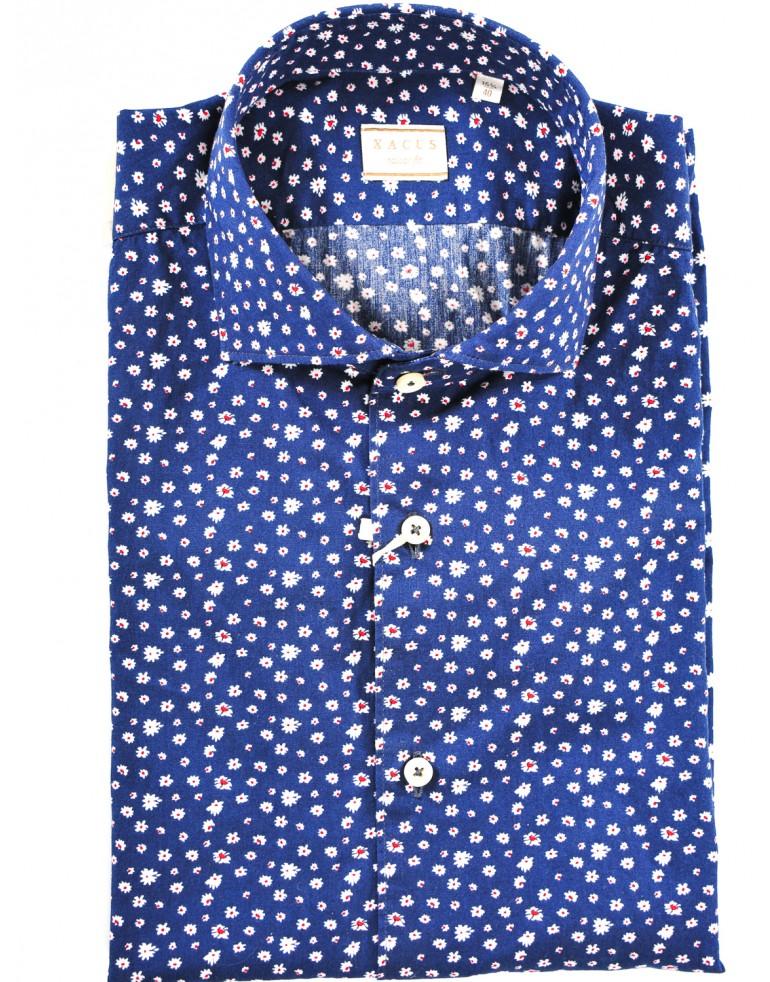 Camicia fiorellini Uomo Xacus 001BLU